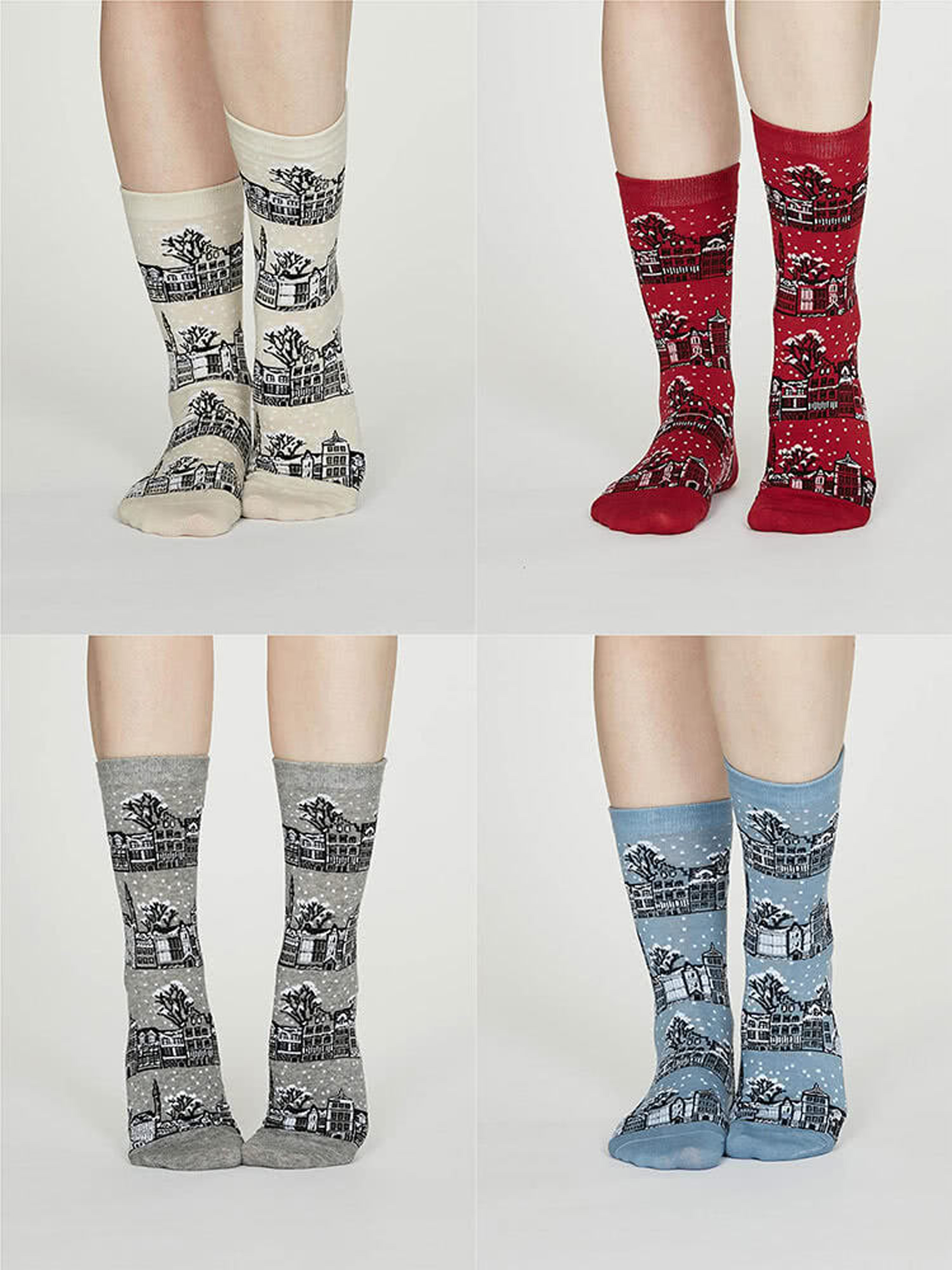 Godelena Organic Cotton Christmas Town Socks